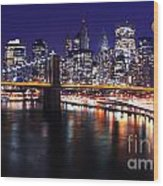 Midnight In The Shadow Of Brooklyn Bridge - Brooklyn Bridge Wood Print
