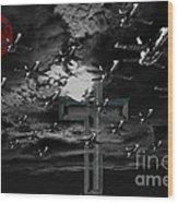 Midnight Raid Under The Red Moonlight Wood Print