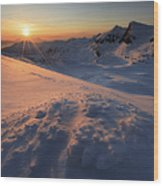 Midnight Sun Above Lilletinden Wood Print