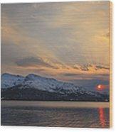 Midnight Sun Over Tjeldsundet Strait Wood Print