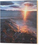 Midnight Sun Over Vågsfjorden Wood Print