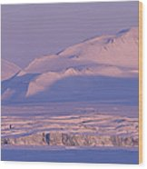 Midnight Sunlight On Polar Mountains Wood Print