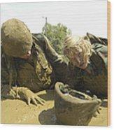 Midshipmen Maneuver Through A Mud Pit Wood Print