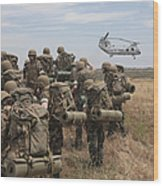 Midshipmen Watch As A U.s. Marine Corps Wood Print