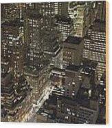 Midtown Manhattan Illuminated At Night Wood Print
