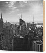 Midtown Skyline Infrared Wood Print