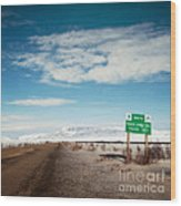 Milepost At The Dempster Highway Wood Print