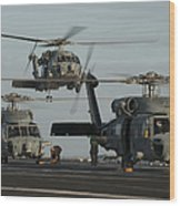 Military Helicopters Land On The Flight Wood Print
