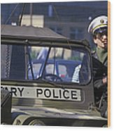 Military Policeman Stands Next Wood Print by Michael Wood