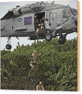 Military Reserve Navy Seals Demonstrate Wood Print by Michael Wood