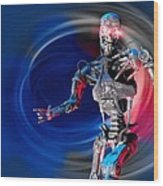 Military Robot, Artwork Wood Print by Victor Habbick Visions
