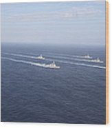 Military Ships Transit The Philippine Wood Print