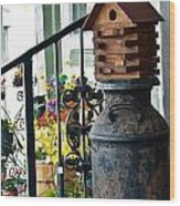 Milkcan And Birdhouse Wood Print