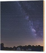 Milky Way And Perseid Meteor Shower Wood Print
