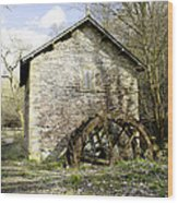 Mill And Water-wheel Near Ashford-in-the-water Wood Print