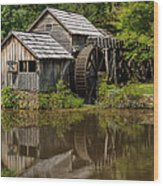 Mill Pond Reflection Wood Print