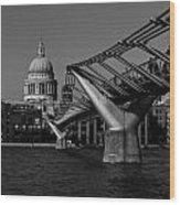 Millenium Bridge And St Pauls Cathedral Wood Print