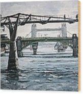 Millennium Bridge London Wood Print