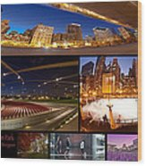 Millennium Park Photo Collage Wood Print