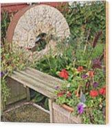 Milling Stone Flower Garden Wood Print