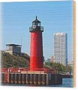 Milwaukee Harbor Lighthouse Wood Print