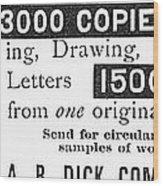 Mimeograph Ad, 1890 Wood Print