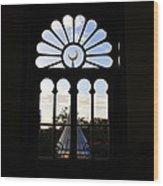 Minaret Through Window Wood Print