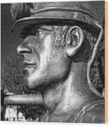 Miner Statue Monochrome Wood Print