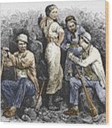 Miners And Their Wives, 19th Century Wood Print by Sheila Terry