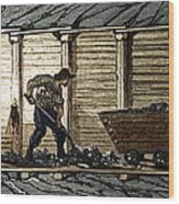 Miners In A Timbered Tunnel Wood Print