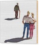 Miniature Figurines Couple Watching Elderly Man Wood Print
