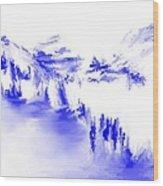 Minimal Landscape Monochrome In Blue 111511 Wood Print