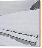 Minimalist Winter Landscape With Lots Of Snow Wood Print
