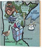 Minnesota Cartoon Map Wood Print