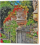 Mirabell Gardens In Salzburg Hdr Wood Print by Mary Machare