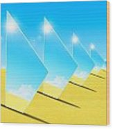 Mirrors On Sand In Blue Sky Wood Print