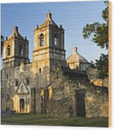 Mission Concepcion In The Evening Wood Print
