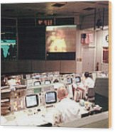 Mission Operations Control Room - Wood Print by Everett