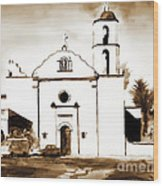 Mission San Luis Rey In Sepia Wood Print by Kip DeVore