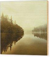 Mist Across The Water Loch Ard Wood Print