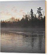 Mist Over The Mississippi Wood Print