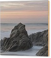 Mist Surrounding Rocks In The Ocean Wood Print
