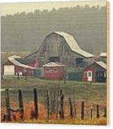 Misty Barn Wood Print