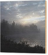 Misty Dawn On Boot Lake Wood Print by Larry Ricker