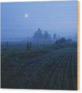 Misty Farm Landscape Wood Print