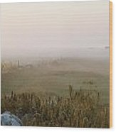 Misty Fields Divided By A Line Of Rocks Wood Print