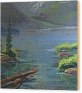 Misty Lake Wood Print