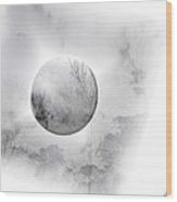 Misty Moon Wood Print