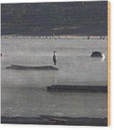 Misty Morning At Lake Wilhelmina Wood Print by Douglas Barnard