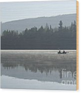 Misty Morning Fishing Wood Print